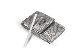 WOMEN'S ECO LEATHER CIGAR CASE FELICE FA14 SLIM SILVER SNAKE