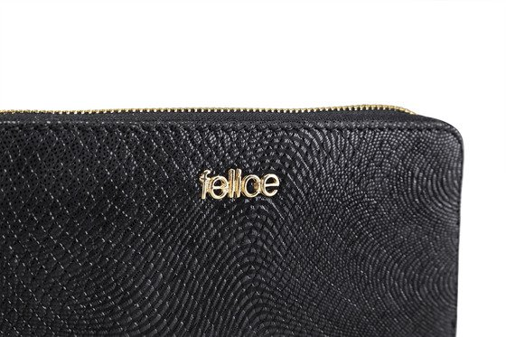 Elegant Women's leather wallet Felice P05 Black Snake