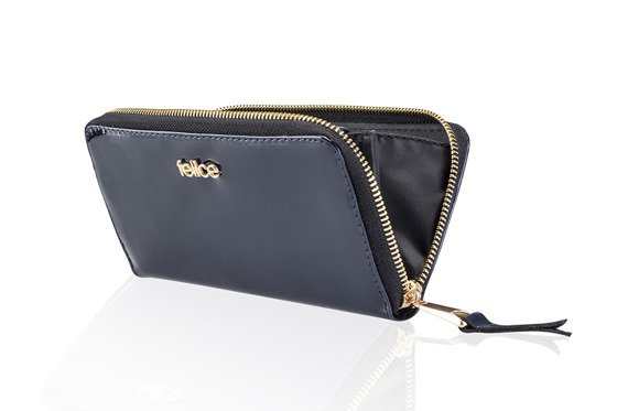 Elegant Women's leather wallet Felice P05 Navy Lacquer