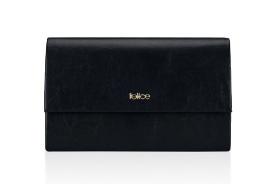 Genuine leather Clutch bag Felice F13GOLD Navy blue