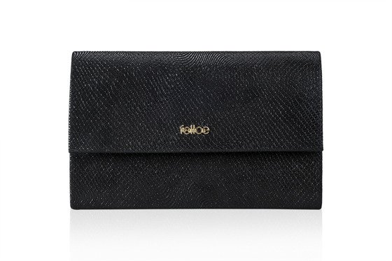 Genuine leather clutch bag Felice F13GOLD Black snake