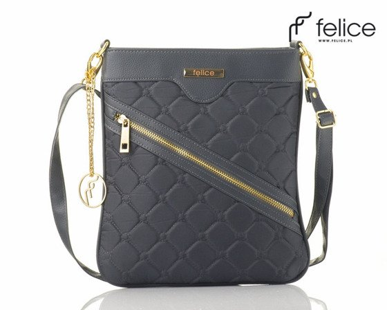 Quilted grey messenger bag Felice Aurora A07