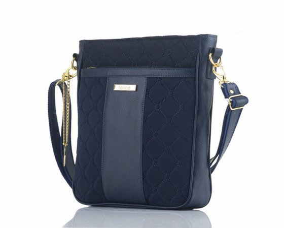 Quilted navy blue messenger bag Felice Aurora A02